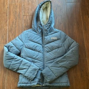 Sherpa-Lined Hollister Grey Puffer Jacket